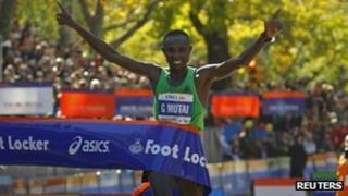 Geoffrey Mutai of Kenya wins the New York marathon