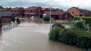 Flooded homes in Burstwick, 2007