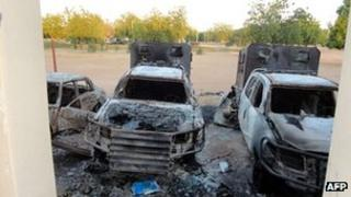 A photo taken on November 6, 2011 police patrol vehicles burnt on November 4 at the state police headquarters by members of the Boko Haram Islamist sect in Damaturu, Yobe State, in northeastern Nigeria.