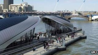 Computer-generated image of the pavilions along the London River Park (Image: GMJ)