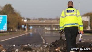 Debris on the M5 motorway in Somerset
