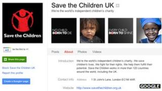 Save the Children's Google+ page