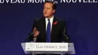 David Cameron at the G20 summit in Cannes