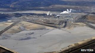 Suncor tar sands plant and tailings pond at their tar sands operation north of Fort McMurray, Alberta, 3 November 2011