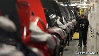 Production line at Aston Martin's factory in Warwickshire
