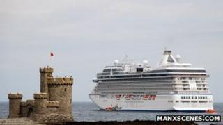 Cruise liner next to Tower of Refuge