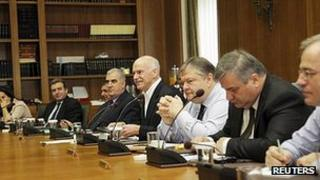 George Papandreou chairs cabinet meeting. 8 Nov 2011