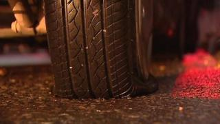 Slashed tyre in Great George's Street