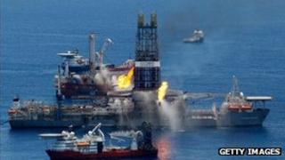 A drillship burns off gas from the BP Horizon rig