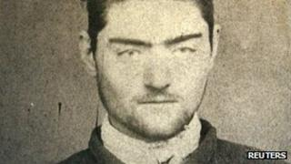 Undated photograph of a police mugshot of Ned Kelly, aged 16, at the Old Melbourne Gaol, released March 13, 2008