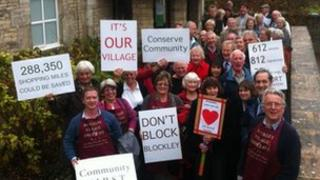 Campaigners outside Cotswold District Council planning meeting