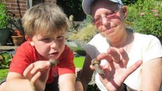 Ruth Brooks and neighbour examine some snails