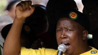 Former Youth wing leader Julius Malema of the ruling African National Congress (ANC) takes part on October 27, 2011 in a demonstration to demand jobs and a greater share of South Africa's riches in Johannesburg on October 27, 2011.
