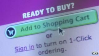 Add to shopping basket button on online shopping site