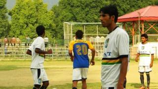 Imran Bhatt coaching soccer in Srinagar
