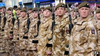 Soldiers from the 2nd Battalion, The Royal Anglian Regiment