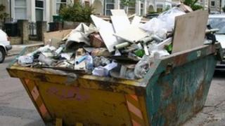 Rubbish in skip