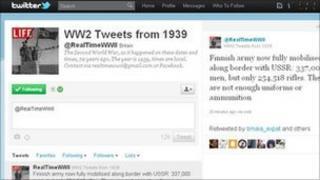 Screen grab of @realtimeWWII