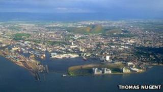 Leith Docks pictured from the air
