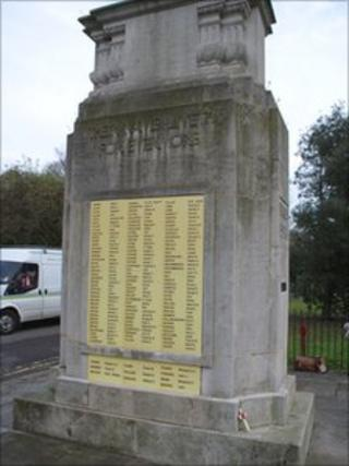 Carshalton war memorial with temporary plastic tablets