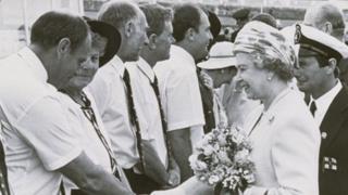 Queen shaking hands in Ramsgate