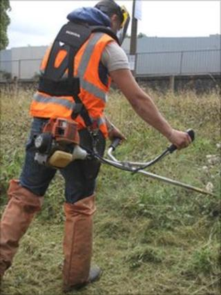 An offender takes part in a community payback scheme. Picture-Staffordshire and West Midlands Probation Service