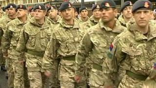 32 Regiment Royal Artillery marching through Salisbury
