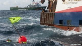 Greenpeace protesters and fishing boat. Pic: Greenpeace