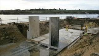 The first section of the flood wall