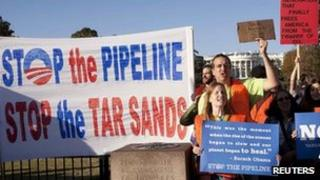 Protesters against the Keystone XL pipeline on 6 November 2011