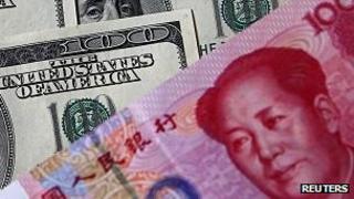 US dollar and China yuan banknotes