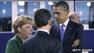 German Chancellor Angela Merkel with French President Nicolas Sarkozy and US President Barack Obama