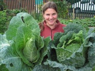 Emma Maxwell in the Newtown community garden