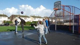 Basketball at Les Genats Estate in 2009 when the grant was awarded