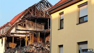 The burnt out house in Zwickau, eastern Germany, where the evidence was found 11 November 2011