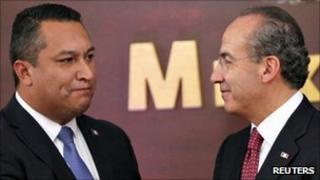 Fransisco Blake Mora with Mexican President Felipe Calderon