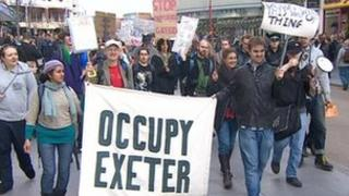 Protest march by Occupy Exeter