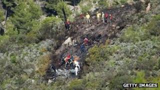 Rescue teams at crash site