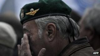 A retired military officer takes part takes part in a demonstration by soldiers in Lisbon. Photo: 12 November 2011