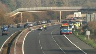 The crash scene on the M40