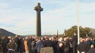Remembrance at the war memorial in Porthmadog, Gwynedd