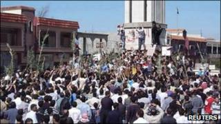 "Demonstrators protesting against Syria""s President Bashar al-Assad gather in Hula, near Homs"