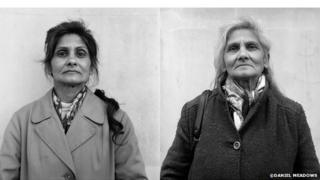 Florence Alma Snoad, Now and Then portrait from the Free Photographic Omnibus, Southampton, 1974 and 1999.