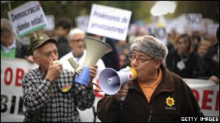 Demonstrators in Madrid protest against unemployment and corruption