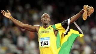 Usain Bolt celebrating a win