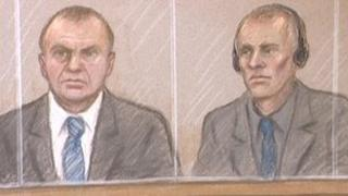 Court artist's sketch of Gary Dobson and David Norris