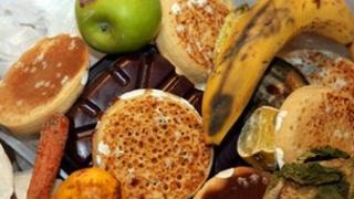 Food thrown in a bin