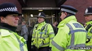 Police outside Ipswich Magistrates Court, Getty