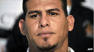 Washington Nationals baseball catcher Wilson Ramos at a news conference after he was freed by Venezuelan soldiers