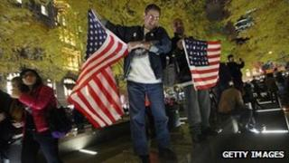 Protesters celebrate after being let back into Zuccotti Park